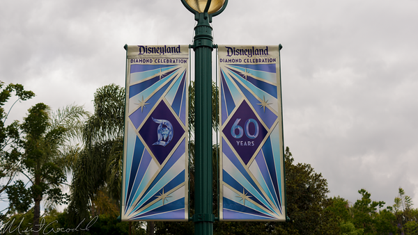 Disneyland Resort, Disneyland60, 60, Anniversary, 24, Hour, Party, Celebration, Kick, Off, Disneyland, Disney California Adventure, Esplanade, Main, Entry, Plaza, Flag, Flags, Banner, Banners, Downtown, Disney