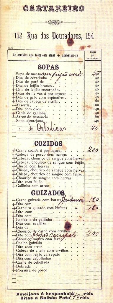 Menu do Restaurante Cartaxeiro, 1900s