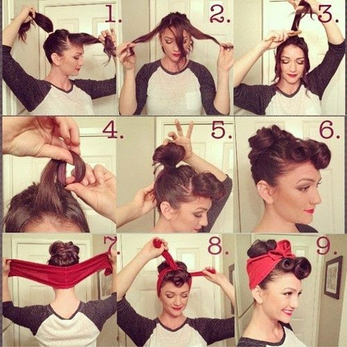 Vintage/Rosie the Riveter look: click through for directions     Adrian do you think you could help me do this hair style? ADD red rose/es for wedding