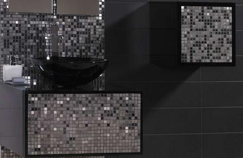 . modern shower furniture  Silver Tile Bathroom