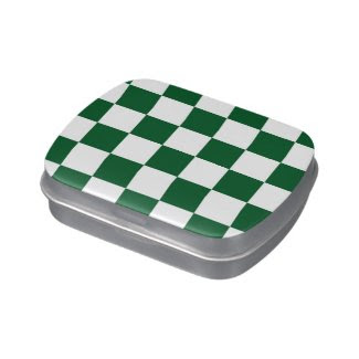 Checkered Green and White Jelly Belly Candy Tin