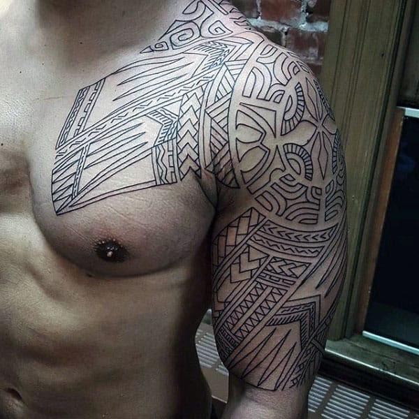 75 Tribal Arm Tattoos For Men Interwoven Line Design Ideas