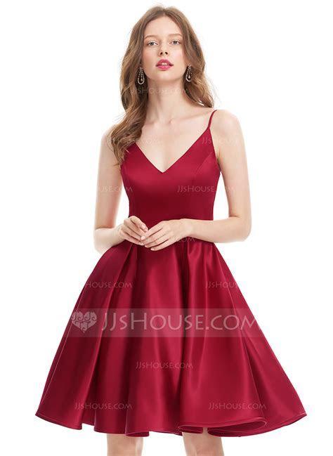 A Line/Princess V neck Knee Length Satin Prom Dresses