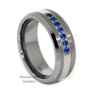 Thin Blue Line Ring Tungsten Carbide Mens 7 Stone Blue CZ
