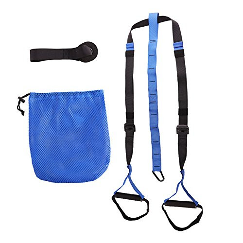 WEIJU FMLLD1103 Suspension Training Belt Bodyweight Strength and Fitness Training System Suspension Tension Rope (Blue)