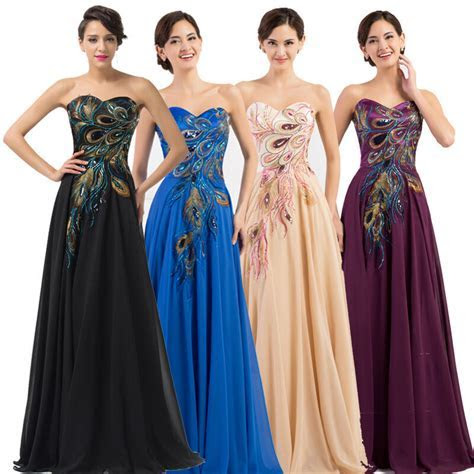 CHEAP~ Retro Peacock Long Prom Evening Ball Gown