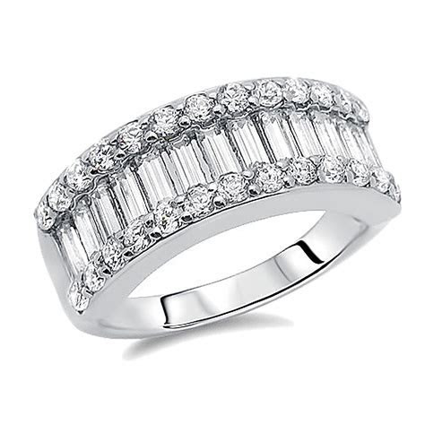 Double Accent   Sterling Silver Rhodium Plated, Wedding