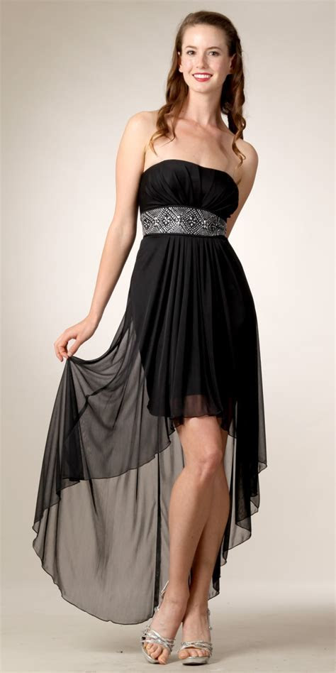 Black High Low Wedding Guest Dress With a small short