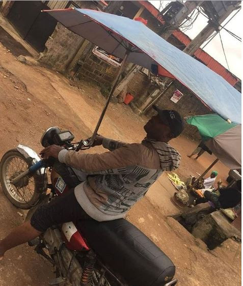 Okada With Customized Umbrella Spotted In Lagos (Photos)