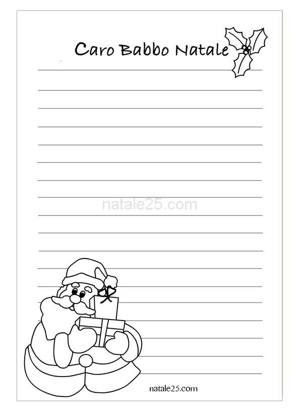 Letterina Di Natale Con Babbo Natale Natale 25