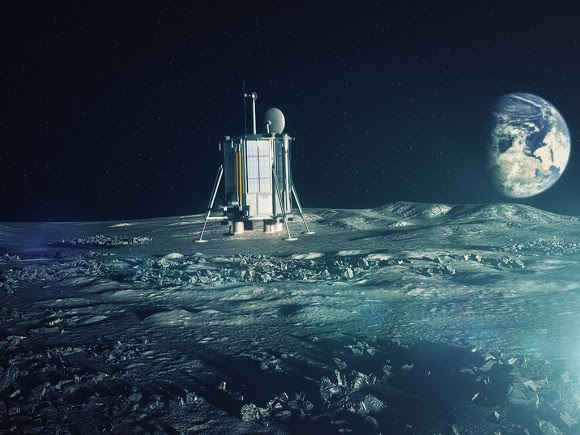 Artist's conception of Lunar Mission One's robotic lander touching down on the surface. Credit: Lunar Missions Ltd.