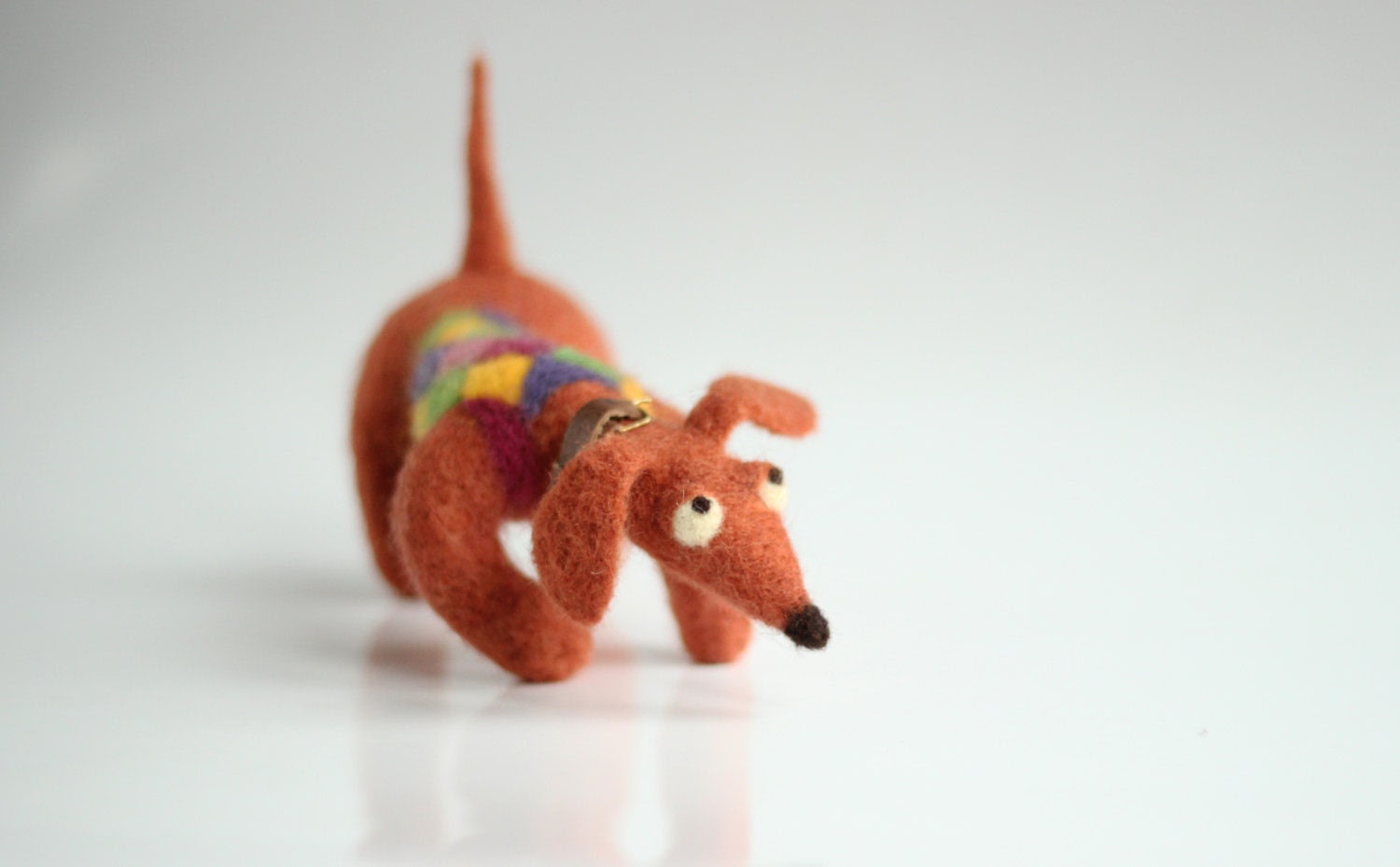 Happy Dachshund With A Crazy Sweater - Needle Felted  Art Doll - Home Decoration - FeltArtByMariana