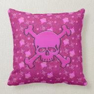 Cute Pink Skulls & Cupcakes Pillow throwpillow