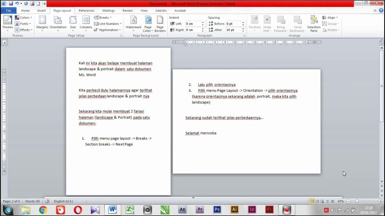 cara membuat 1 halaman landscape di word