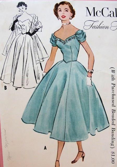 Womens evening wear 1950s
