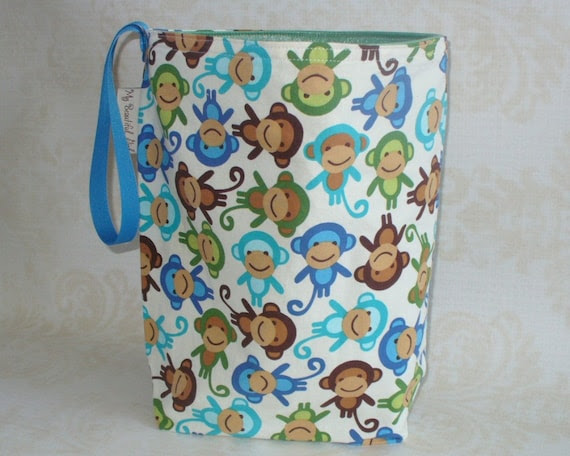 Tossed Monkies ReUsable Trashcan, Eco Friendly, Hand Made