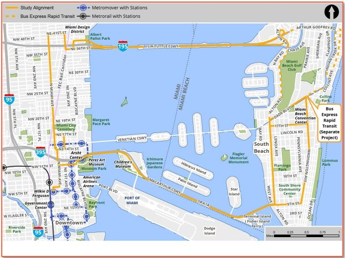 public transportation miami metrorail map