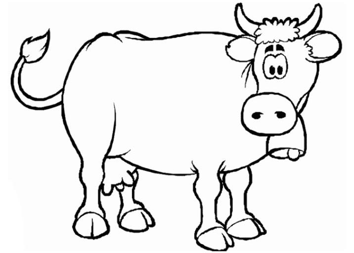 ausmalbild kuh kostenlos  cartoonbild
