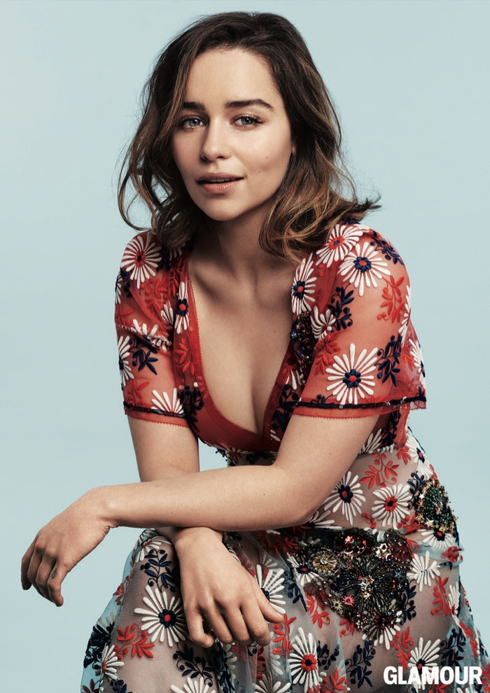 Photographed in a Marc Jacobs dress with floral embellishments, Emilia Clarke looks super elegant