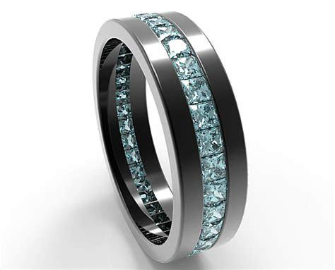 black gold princess cut aquamarine wedding band  men