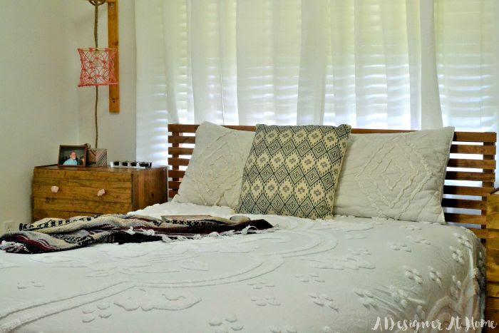 boho-bedding-coverlet-fringe-detail-triba;-print-pillow-diy-ikea-tarva-bed-hack-crystal-drawer-pulls-macrame-lamp-shade-coral-bedroom-decor