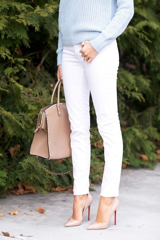 2 Le Fashion Blog 30 Fresh Ways To Wear White Jeans Blue Sweater Valentino Bag Nude Pumps Via Pink Peonies photo 2-Le-Fashion-Blog-30-Fresh-Ways-To-Wear-White-Jeans-Blue-Sweater-Valentino-Bag-Nude-Pumps-Via-Pink-Peonies.jpg