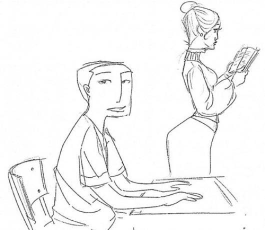 Dibujo De Alumno Y Maestra Para Pintar Y Colorear Colorear Dibujos