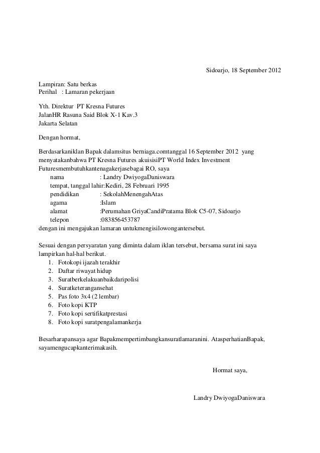 Contoh Surat Lamaran Kerja Di Pt Oppo Bagi Contoh Surat