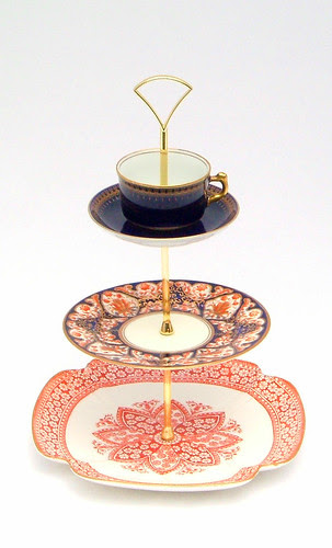 Vintage china three tier cake stand with cup