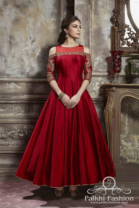 Full Flair Red Silk Outfit With Elegant Work and Cold