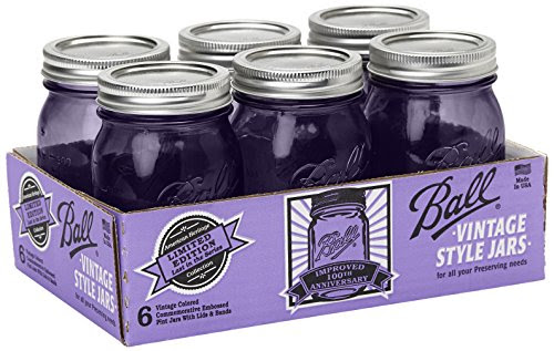 Ball Jar Ball Heritage Collection Purple Pint Jars with Lids and Bands (Set of 6)