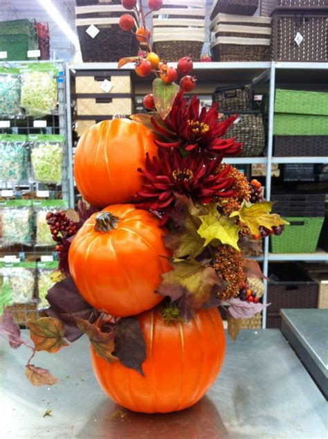 Stacked pumpkins by kristy@michaels   My Floral designs
