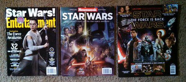 Entertainment Weekly, Newsweek and Movie Magic magazines devoted to STAR WARS: THE FORCE AWAKENS that I bought on November 20-21, 2015.