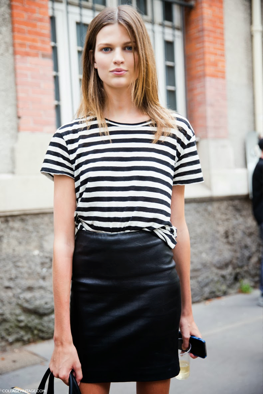 LE FASHION FASHION WEEK BLOG STREET STYLE STRIPE TEE LEATHER SKIRT MODEL MODEL OFF DUTY BETTE FRANKE STRIPED SHORT SLEEVE TEE TSHIRT HIGH WAIST WAISTED LEATHER SKIRT  VIA COLLAGE VINTAGE photo LEFASHIONBLOGSTREETSTYLESTRIPETEELEATHERSKIRTMODELBETTEFRANKEVIACOLLAGEVINTAGE.png