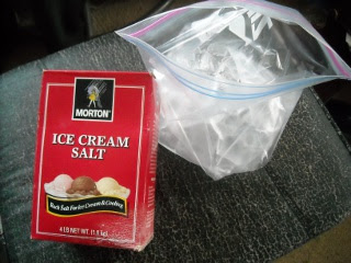 Rock Salt and Ice in Freezer Bag for Goat Milk Ice Cream