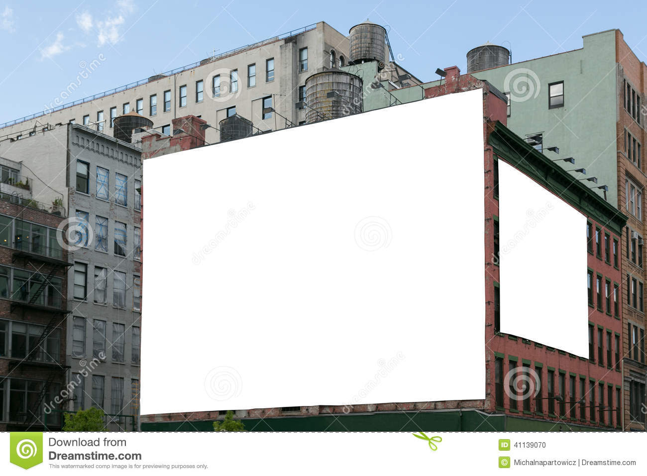 Two White Blank Billboard On The Brick Wall Building. Stock Photo ...