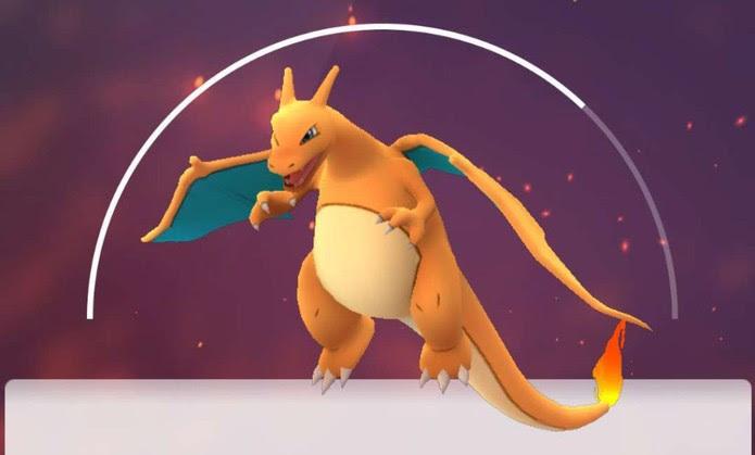 Charizard em Pokémon Go (Foto: Reprodução/Felipe Vinha)