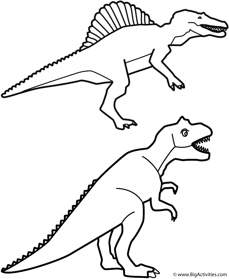 Spinosaurus and T-Rex - Coloring Page (Birthday)