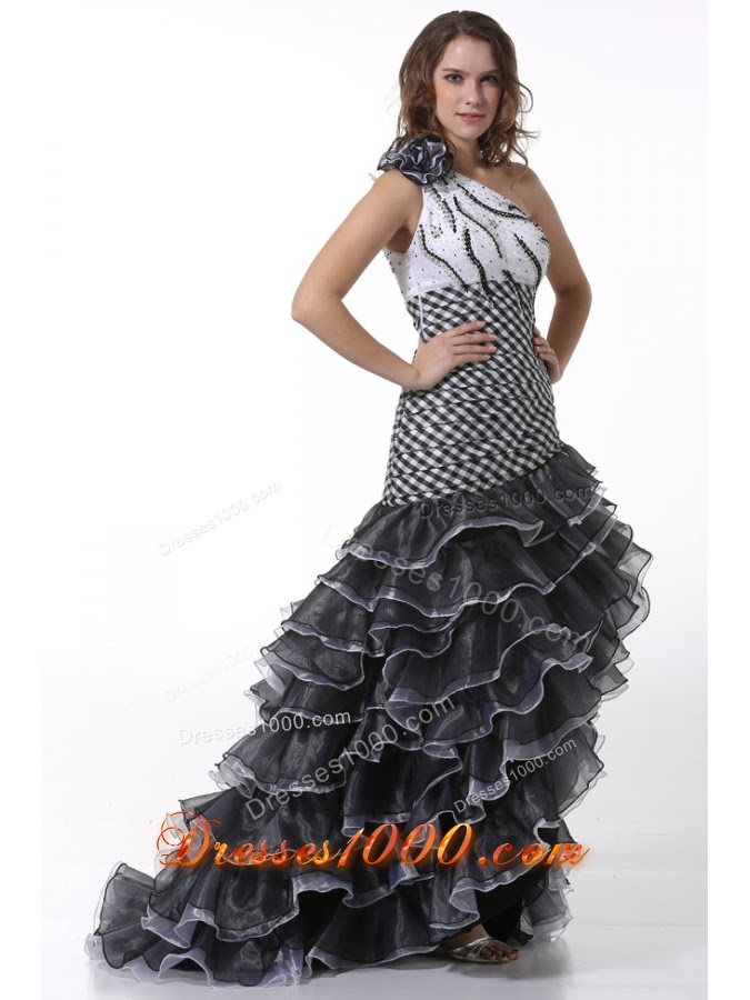 white and black one shoulder high low prom dress with ruffled layers 5443 4