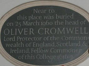 plaque marking burial place of Cromwell's head WKPD