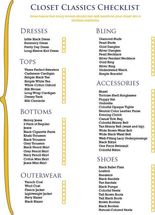 Let The Real World Begin: The Closet Checklist (closet checklist,fashion)