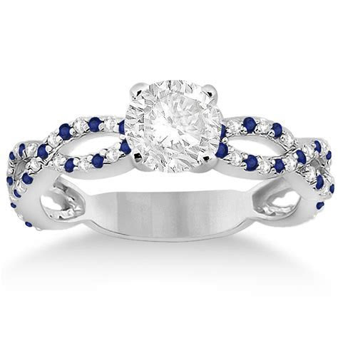 Pave Diamond & Blue Sapphire Infinity Eternity Engagement