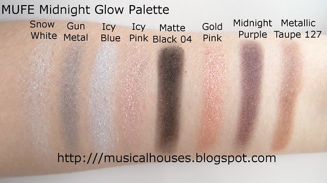 MUFE Midnight Glow Palette swatches
