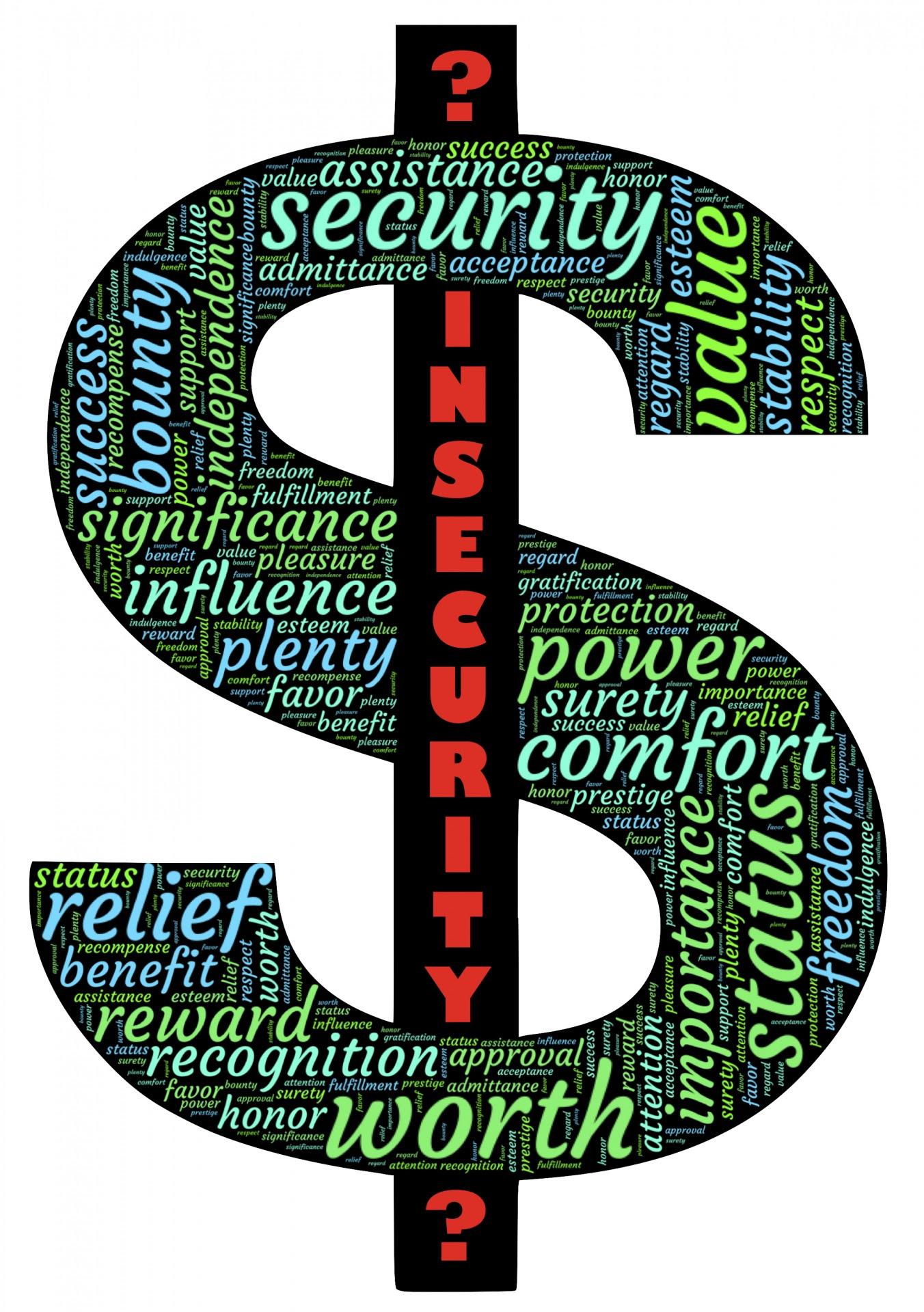 Símbolo do dólar insegurança