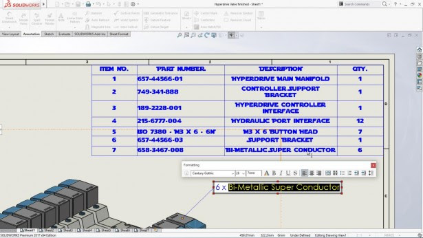 solidworks lista materiales