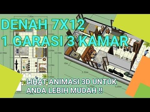 Desain Rumah Minimalis Ukuran 7x12 Meter  most wanted denah rumah minimalis 3 kamar tidur ukuran 7x12