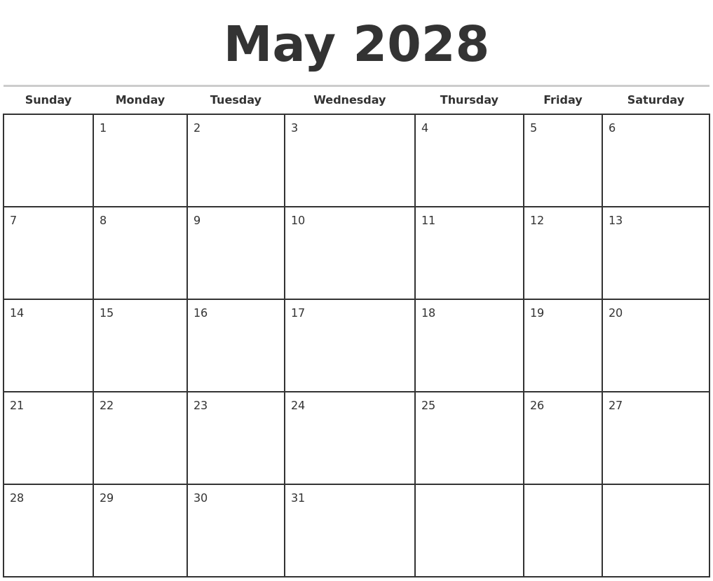 may 2028 monthly calendar template full weekday