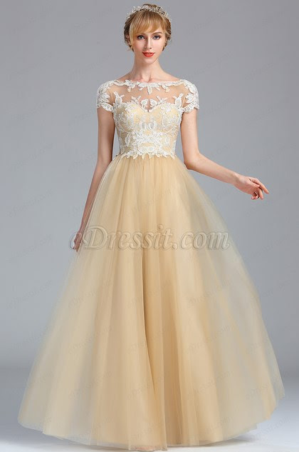 Short Sleeves Beige Lace Appliques Homecoming Prom Dress