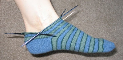 I just turned the heel on this 1st toe-up sock.