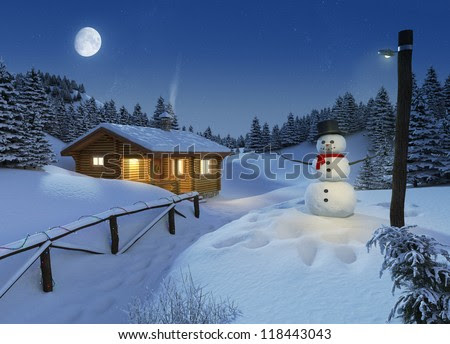 cozy log cottage in a winter scene with snowman, christmas lights and